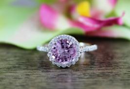 Halo Design Purple,White Diamond Round Cut Eternity Ring In Solid 10k White Gold - $289.99