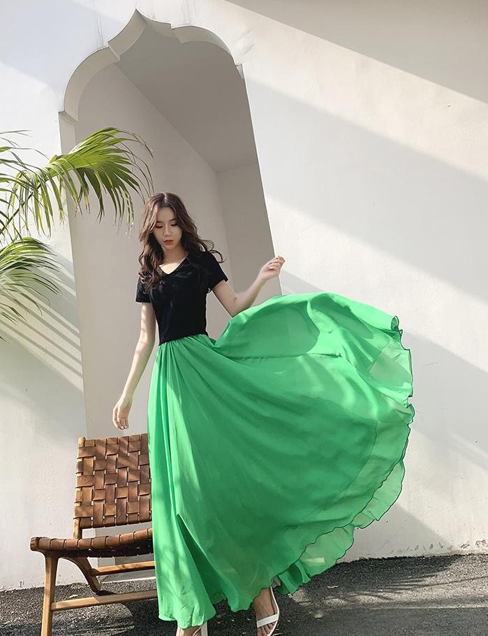Green chiffon skirt 1