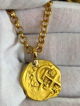 "SPAIN 4 ESCUDOS 1652 ""DATED"" PIRATE GOLD COINS DOUBLOON TREASURE PENDANT... - $3,950.00"