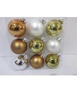 """Christmas Shabby Chic MINI Copper White Gold Glass Ball Ornaments 1.5"""" S... - $9.99"""