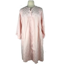 Miss Elaine Women Night Gown Snap Front Pockets Embroidered Pink Plus Si... - $31.33