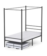 Canopy Bed Frame Twin Size Black Metal 4 Poster Single Bedframe Modern P... - $240.15+