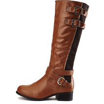NEW Cognac Mid calf Knee high Buckle Riding Combat Military Boots Shoes ... - £20.51 GBP