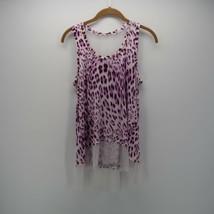 Jennifer Lopez Purple White Tie Dye Sheer Mesh Sleeveless Hem Tank Top S... - $12.00