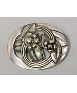 Vintage Jo Michels Signed Sterling Floral Pin Heavy Modernist  - $97.02