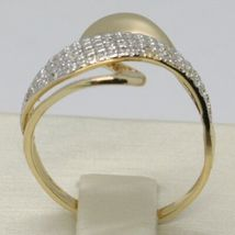 SOLID 18K YELLOW GOLD BAND ZIRCONIA RING, ONDULATE, WAVE, WOVEN, MADE IN ITALY image 3