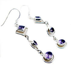 Amethyst jaipur 925 Sterling Silver elegant Natural Purple Earring gift UK - $24.67