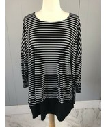 Chico's Black/White Striped Blouse Top Shirt  Size 3 - $15.19