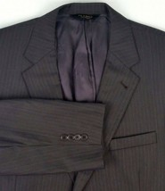 Jos A Bank Signature Gold Suit Jacket Size 44 Regular Charcoal / Blue Pi... - $26.10