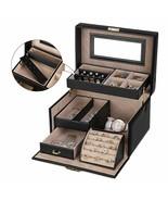 Bijoutier Coffret Bijoux Rectangulaire Avec Miroir Boucles Anneaux Colliers - $244.01