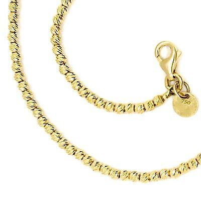 "18K YELLOW GOLD CHAIN FINELY WORKED SPHERES 2 MM DIAMOND CUT BALLS, 16"", 40 CM"