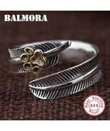 BALMORA Real 925 Sterling Silver Feather&Dog Claw Open Stacking Finger R... - $20.95