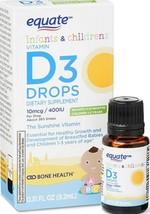 Equate Infant/childrens Vitamin D3 Drops Bone & Joint Health Supplement ... - $8.99
