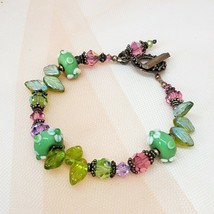 Vintage Czech Crystal Glass Beaded Statement Bracelet Lampwork Beads - $14.97