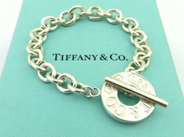 Authentic TIFFANY & CO Sterling Silver 1837 Circle Toggle Chain Link Bracelet - $155.64