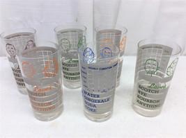 6 Cocktail Bar Glasses Vintage Whiskey Rye Scotch Glass Tumblers Novelty... - $45.00