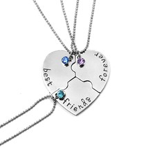 European and American Jewelry 3 Parts Spliced Heart Shaped Pendants Best Friends - $9.71