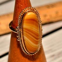 vintage Signed Avon oblong oval caramel marbled gemstone gold plated rin... - $19.79