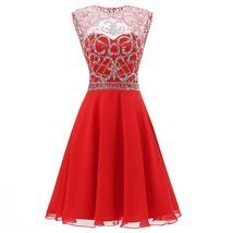 Homecoming Dress 2018 A Line Scoop Red Chiffon Short Prom Dresses for Juniors - $138.00