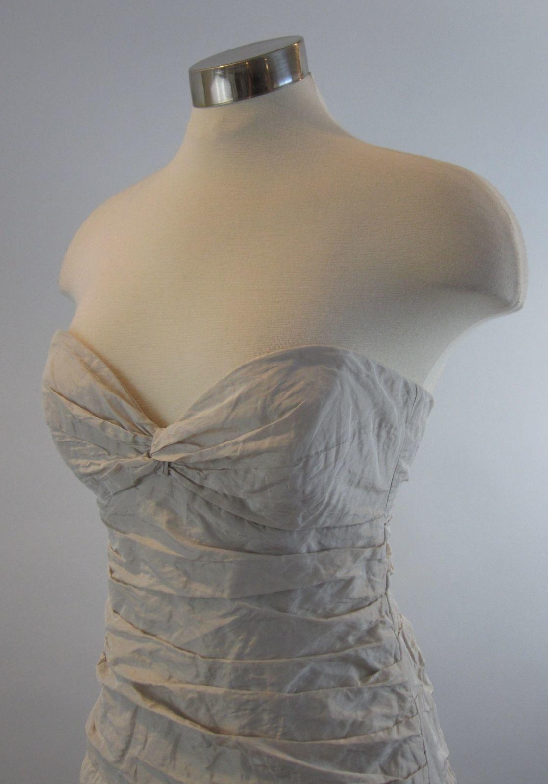 4 NICOLE MILLER Ivory Metal Taffeta Mia Sweetheart Strapless Wedding Gown NWT