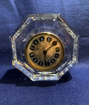 """Waterford Crystal Lismore octagon clock, 5 1/8"""" x 2"""" thick,  very heavy, cursive - $34.64"""