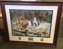 """Winter Cardinals""  Bradley Jackson Danbury  CARDINAL BIRD Stamp 22x19 L1 - $154.79"