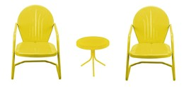 3-Piece Yellow Retro Metal Tulip Chairs and Side Table Outdoor Set - $162.10