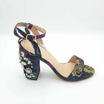 Chase & Chloe Womens Doris Sandal Block Heel Blue Floral Embellished 5.5 New - $16.62