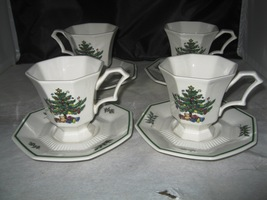 NIKKO CLASSIC COLLECTION CHRISTMASTIME 4 CUPS & SAUCERS IN BOX - $18.00