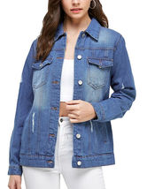 Women's Classic Casual Cotton Lightweight Distressed Denim Button Up Jean Jacket image 7