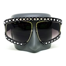 OVERSIZE VINTAGE RETRO SHIELD Style SUN GLASSES Unique Black Frame & Rhi... - $67.89