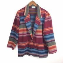 Vintage Southwest Aztec Indian Blanket Wool Blend Blazer Jacket Arizona ... - $23.36
