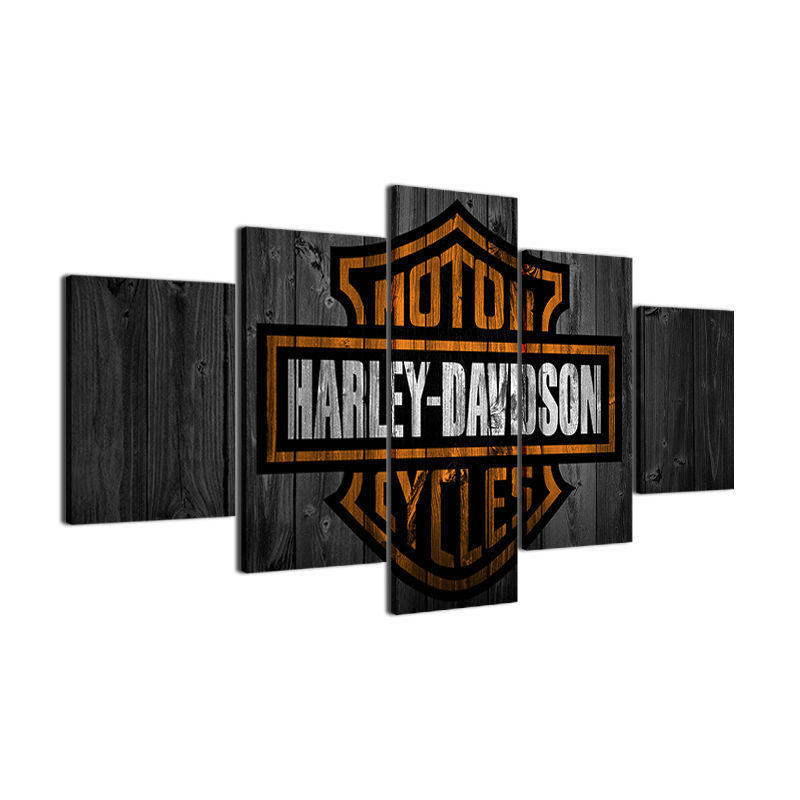 Large Framed Harley Davidson Barnwood Style Canvas Home