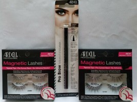 Eye Lot of 3 Ardell Magnetic Lashes 113 (2) Pro Brow Micro-Fill Marker Dk Brown - $18.80