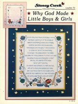 1994 Cross Stitch Why God Made Little Boys & Girls Sampler Pattern  - $12.99
