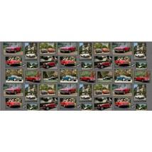 "23.5"" X 44"" Panel Vintage Old Antique Cars Retro Cotton Fabric Panel D37... - $10.41"