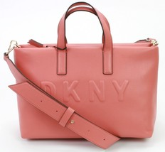DKNY Donna Karan Tilly Faux Leather Coral Pink Small Tote Bag Handbag RR... - $163.99