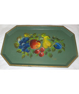Vintage Nascho New York Hand Painted Toleware Metal Tray U.S.A - $28.94