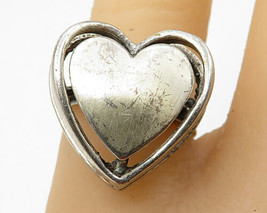 BEAU 925 Sterling Silver - Vintage Leveled Love Heart Band Ring Sz 6 - R... - $46.39