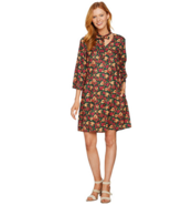 Du Jour Size 4 Floral Printed 3/4 Sleeve Dress with Neck Tie Detail Dark... - $14.89