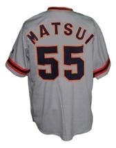 Hideki Matsui #55 Yomiuri Giants Tokyo Button Down Baseball Jersey Grey Any Size image 2