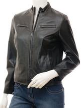QASTAN Women's New Stylish Black Biker Sheep Leather Jacket QWJ25B - $149.00+