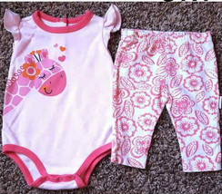 Girl's Size 6m 3-6 Months Two Piece Pink Giraffe Top, & Floral Leggings ... - $14.00