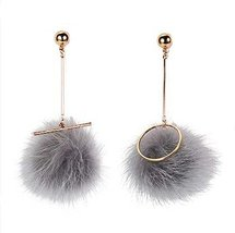 European Style Puffer Ball Asymmetrical Dangler Vintage Earrings, Gray