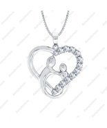 Love Gift Mother & Child Pendant Necklace Diamond Accents 14K White Gold... - $79.89