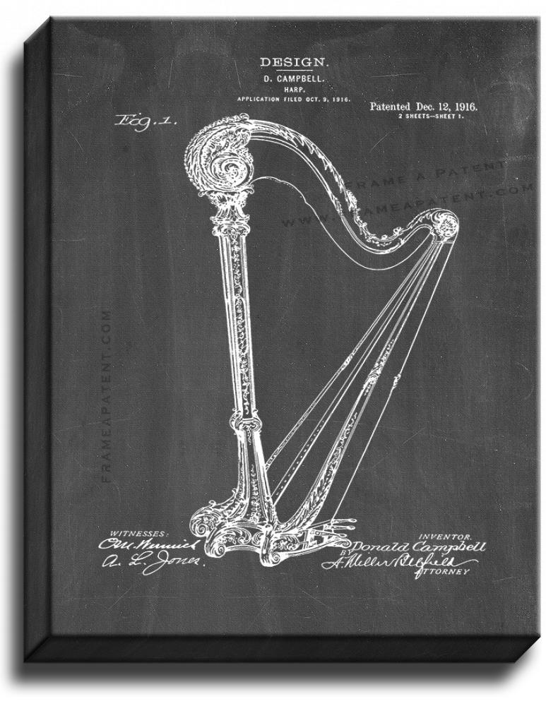 Primary image for Harp Patent Print Chalkboard on Canvas