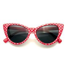 Polka Dot Cat Eye Womens Fashion Mod Super Cat Sunglasses - $7.55
