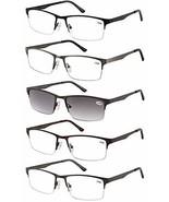 Eyecedar 5-Pack Metal Half-Frame Reading Glasses Men Spring Hinges Stain... - $22.89
