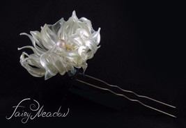 Big Pearl Flower Handmade Hair Pin White Bridal Resin Kanzashi Stick Clip - $92.00