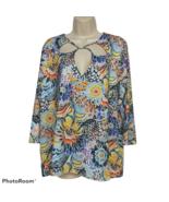 NWT Allison Taylor Womens Floral Top Size 2X Cutout Neck 3/4 Sleeve Aloha - $39.60